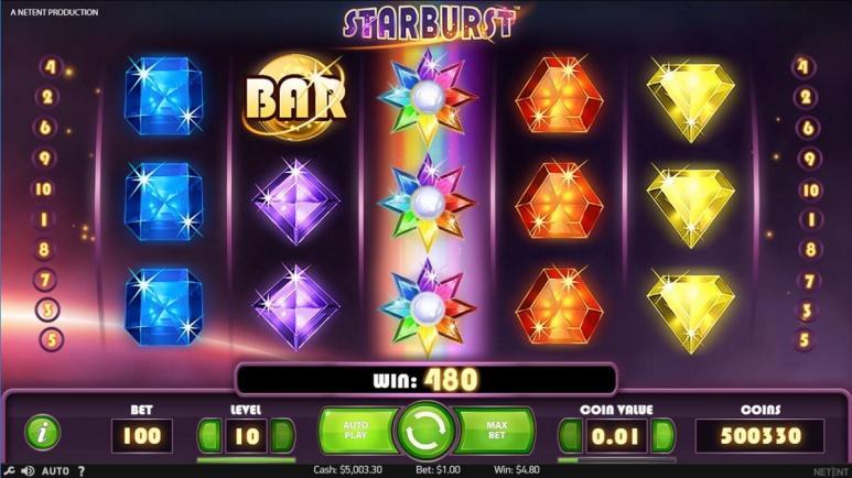 Ein Screenshot vom Netent Spiel Starburst